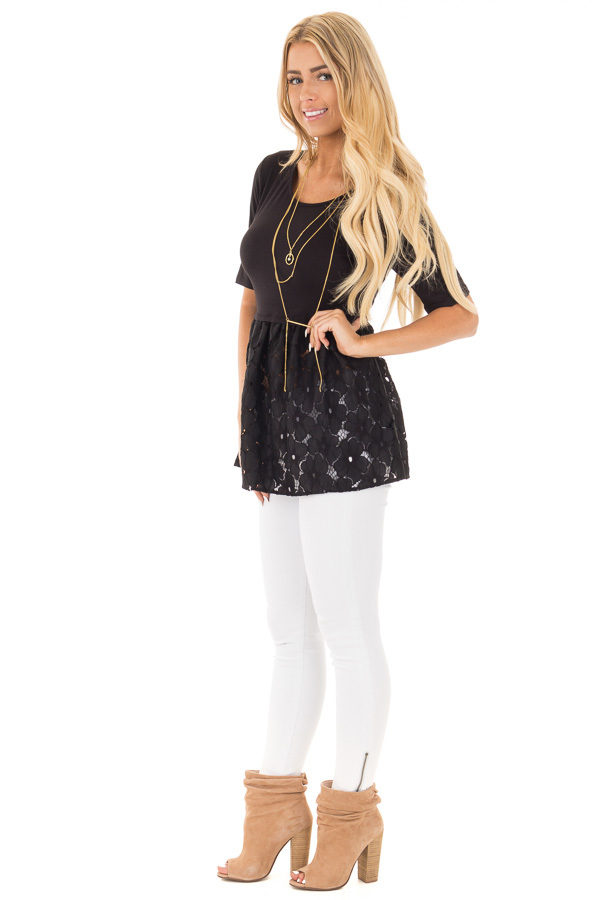 Black Baby Doll Tunic with Floral Crochet Contrast side full body