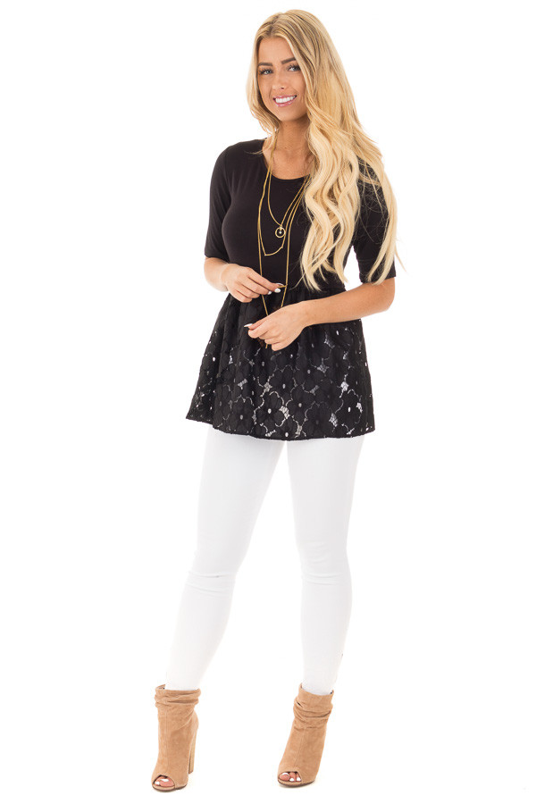 Black Baby Doll Tunic with Floral Crochet Contrast front full body