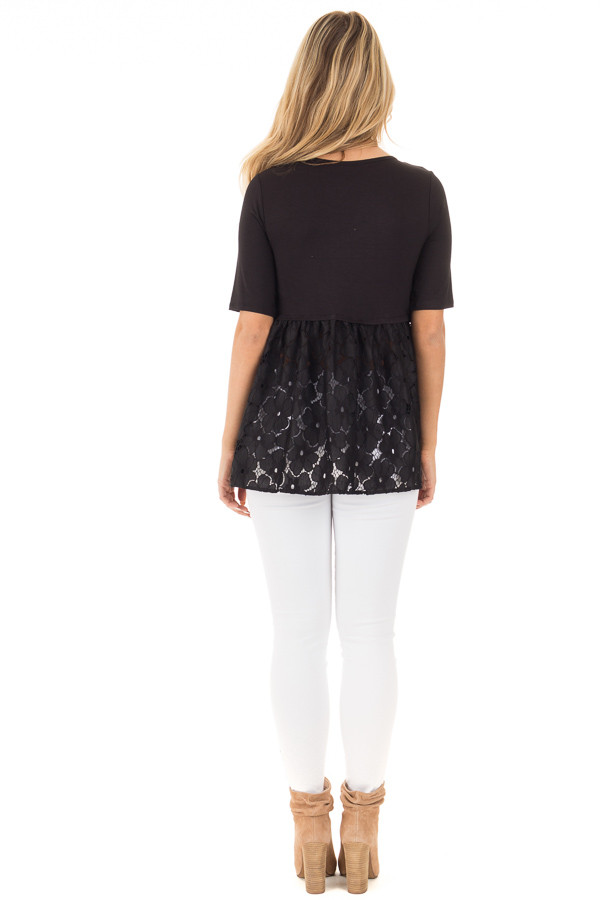 Black Baby Doll Tunic with Floral Crochet Contrast back full body