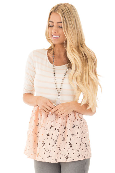 Blush Striped Baby Doll Tunic with Floral Crochet Contrast front close up