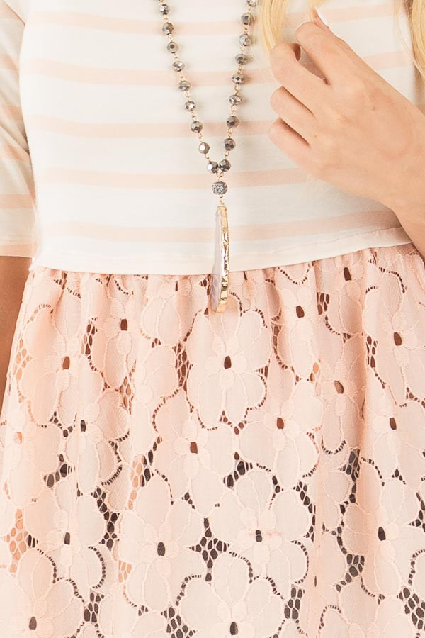 Blush Striped Baby Doll Tunic with Floral Crochet Contrast detail