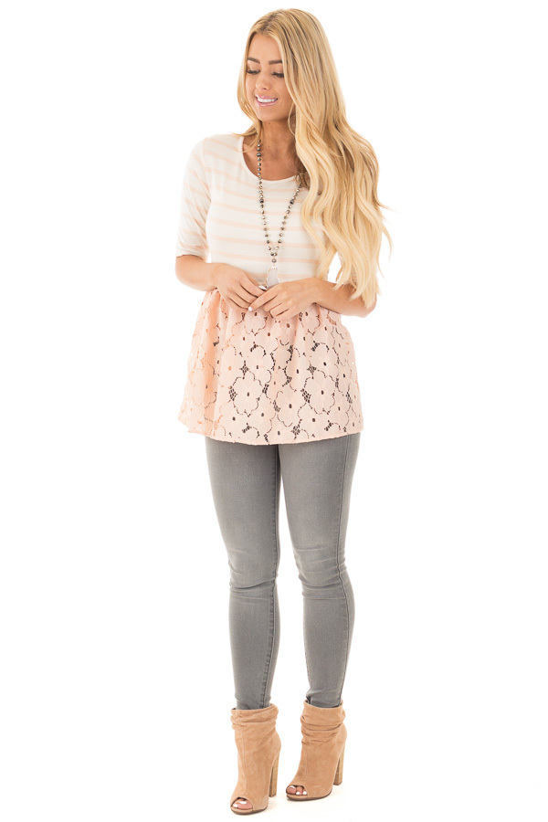 Blush Striped Baby Doll Tunic with Floral Crochet Contrast front full body
