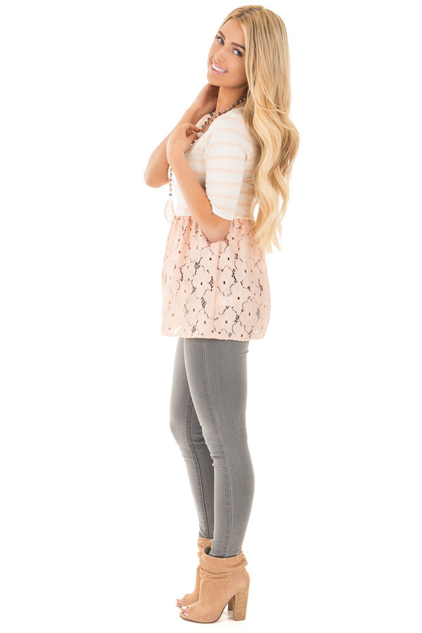 Blush Striped Baby Doll Tunic with Floral Crochet Contrast side full body