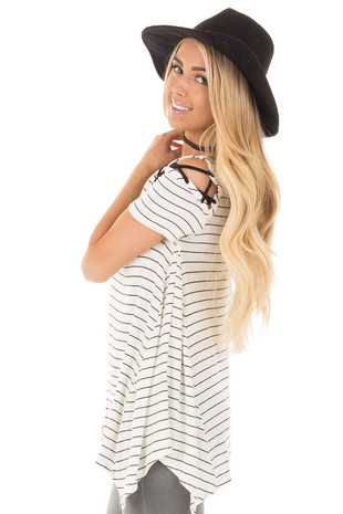 Off White Cold Shoulder Striped Round Neck Ruffle Tunic Top side close up