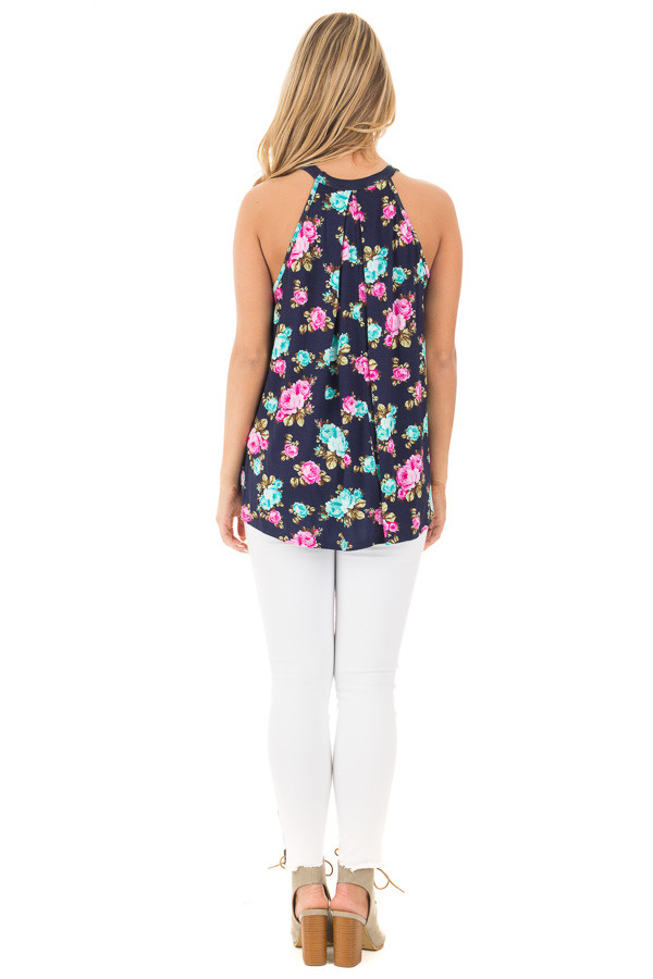 Navy Tank Top with Bright Floral Print and Cut Out Neckline back full body