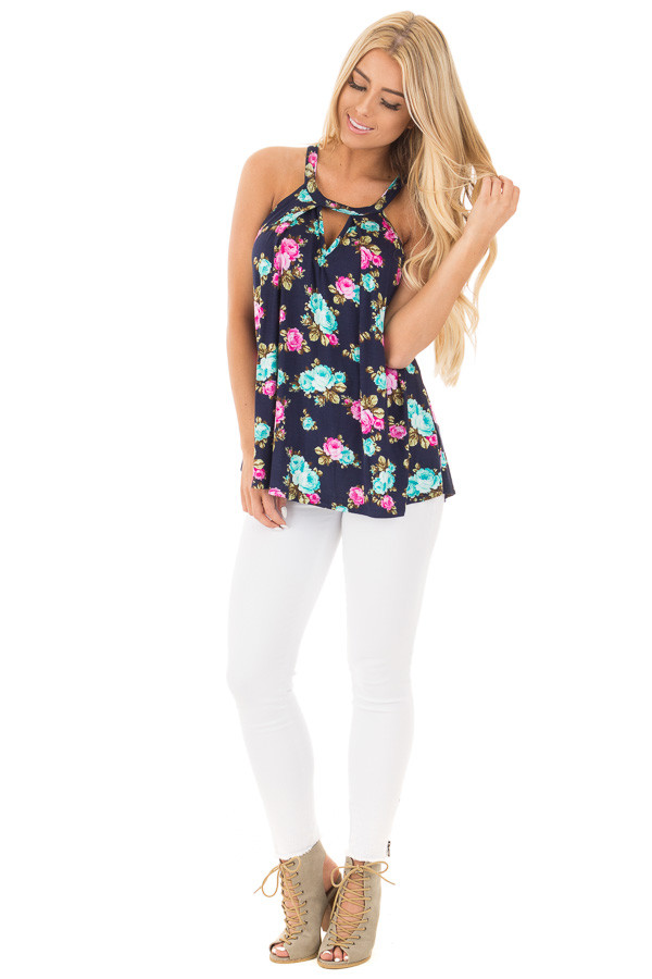 Navy Tank Top with Bright Floral Print and Cut Out Neckline front full body