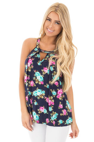 Navy Tank Top with Bright Floral Print and Cut Out Neckline front close up