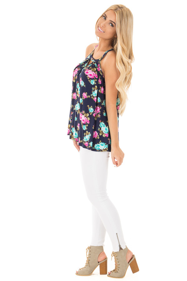 Navy Tank Top with Bright Floral Print and Cut Out Neckline side full body