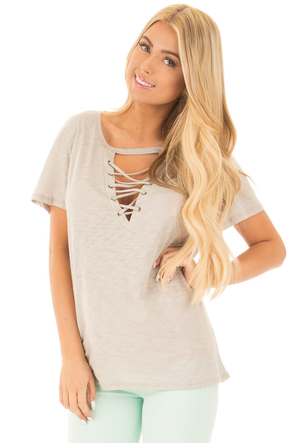 Lunar Grey Short Sleeve Tee with Cut Out Lace Up V Neck front close up