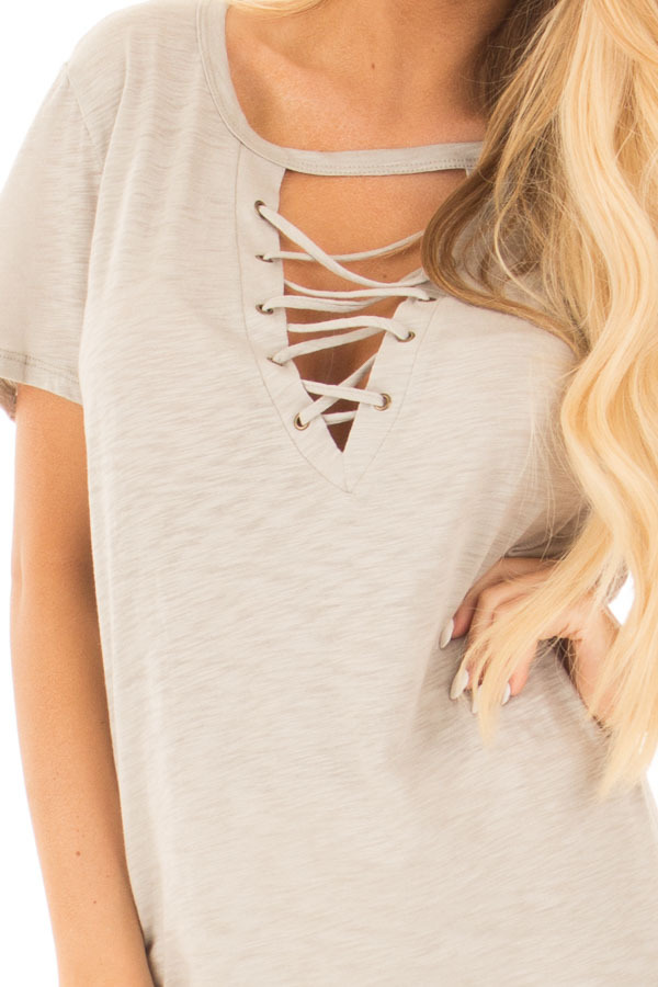 Lunar Grey Short Sleeve Tee with Cut Out Lace Up V Neck detail