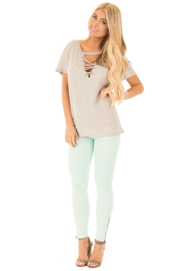 Lunar Grey Short Sleeve Tee with Cut Out Lace Up V Neck front full body