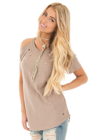 Taupe Cold Shoulder Distressed Short Sleeve Top front close up