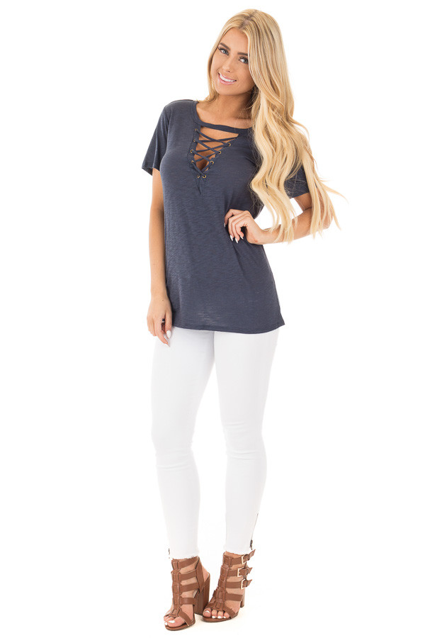 Navy Short Sleeve Tee with Cut Out Lace Up V Neck front full body