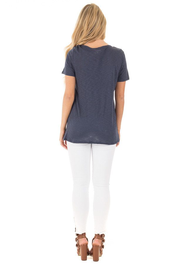 Navy Short Sleeve Tee with Cut Out Lace Up V Neck back full body