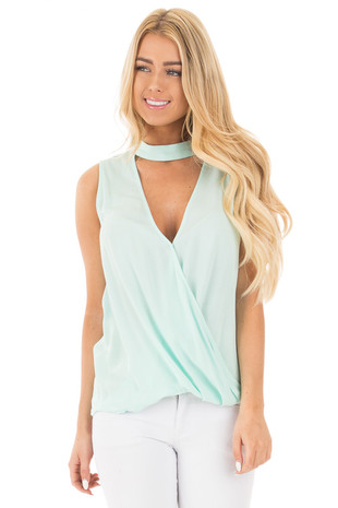 Ice Mint Chocker Top with Deep V Neck and Keyhole Back front close up