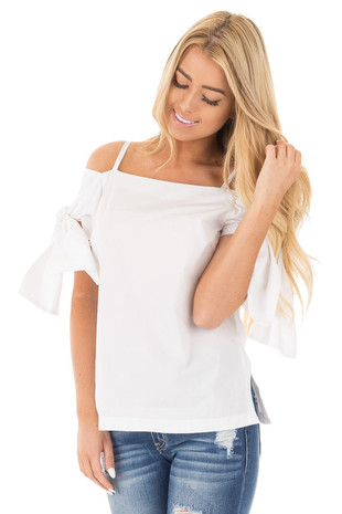 White Off the Shoulder Top with Tie Details front close up