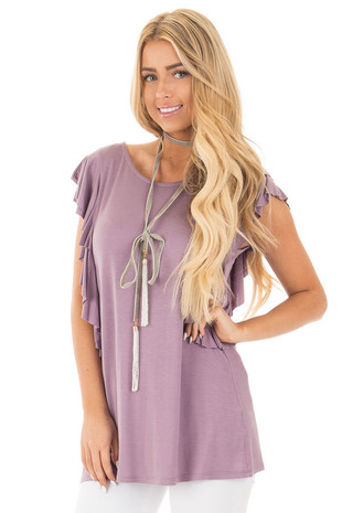Purple Mauve Top with Layered Ruffle Cap Sleeves and Sides front close up