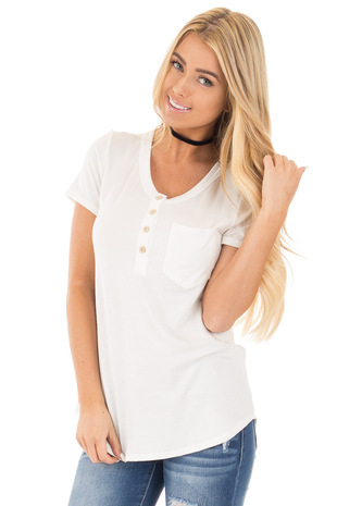 Ivory Button Up Top with Short Sleeves and Side Pocket front close up