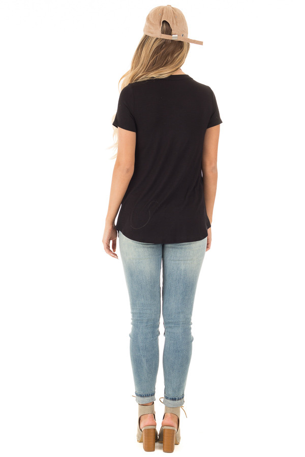 Black Button Up Top with Short Sleeves and Side Pocket back full body