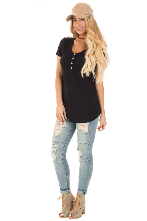 Black Button Up Top with Short Sleeves and Side Pocket front full body