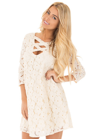 Cream Floral Crochet Mini Dress with Criss Cross V Neck front close up