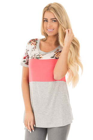 Coral Short Sleeve Color Block Top with Floral Contrast front close up