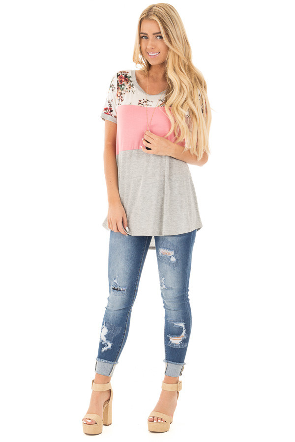 Blush Short Sleeve Color Block Top with Floral Contrast front full body