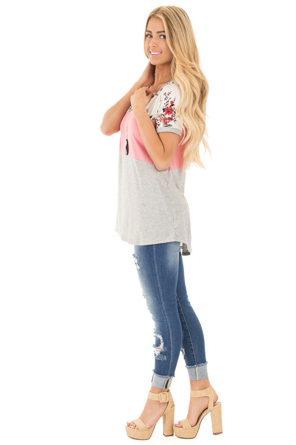 Blush Short Sleeve Color Block Top with Floral Contrast side full body
