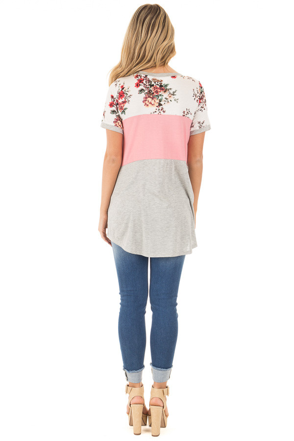 Blush Short Sleeve Color Block Top with Floral Contrast back full body