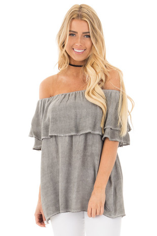 Faded Charcoal Off Shoulder Top with Ruffle Overlay front close up