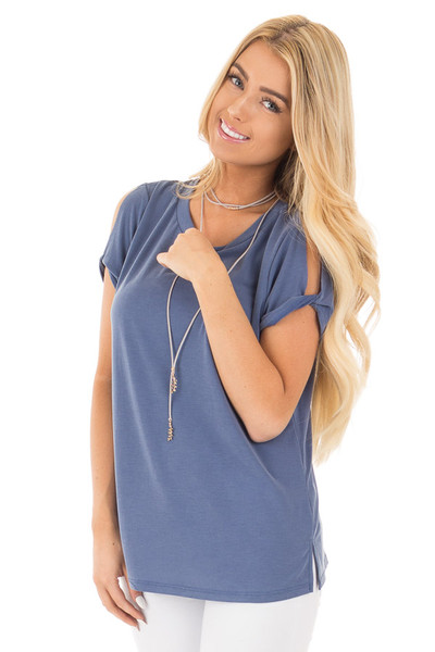 Denim Raw Cut Twisted Open Cap Sleeve and Side Slits Top front close up