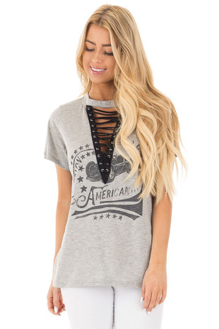 Heather Grey Printed Mock Neck Tee with Lace Up Cut Out Detail front close up