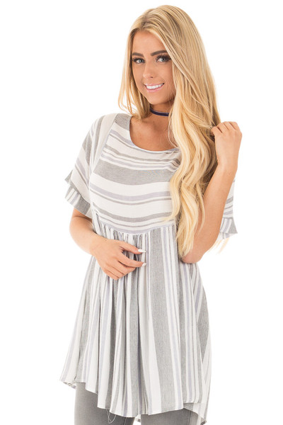 Black and Blue Short Sleeve Striped Tunic Top front close up