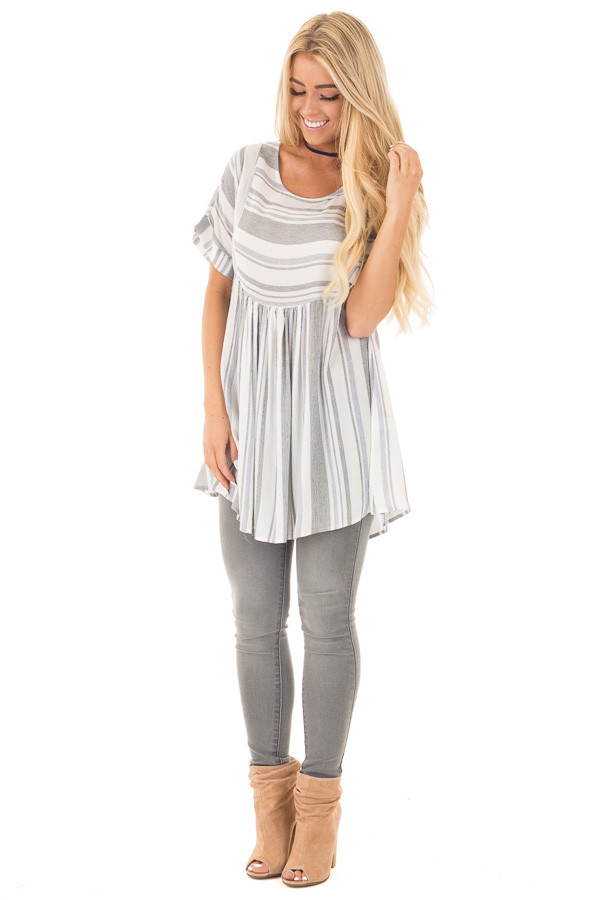 Black and Blue Short Sleeve Striped Tunic Top front full body