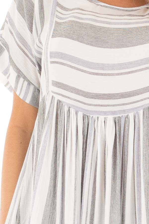 Black and Blue Short Sleeve Striped Tunic Top detail