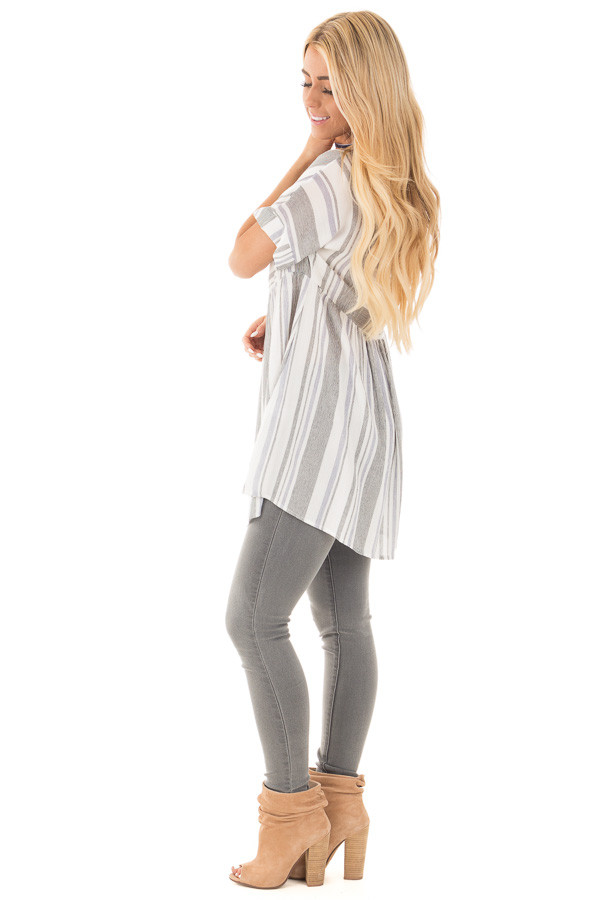 Black and Blue Short Sleeve Striped Tunic Top side full body