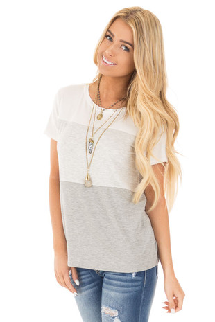 Heather Grey Short Sleeve Color Block Top front close up