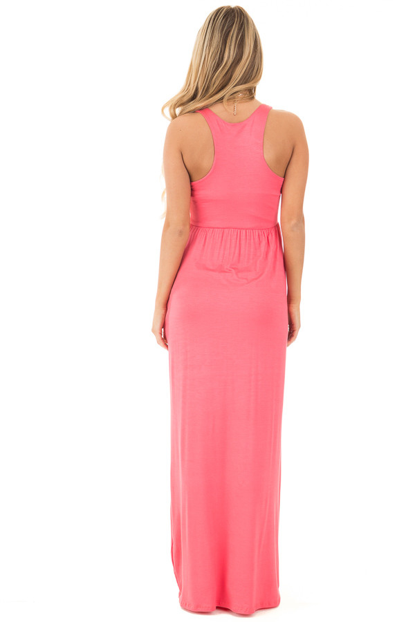 Coral Jersey Racerback Tank Maxi Dress back full body