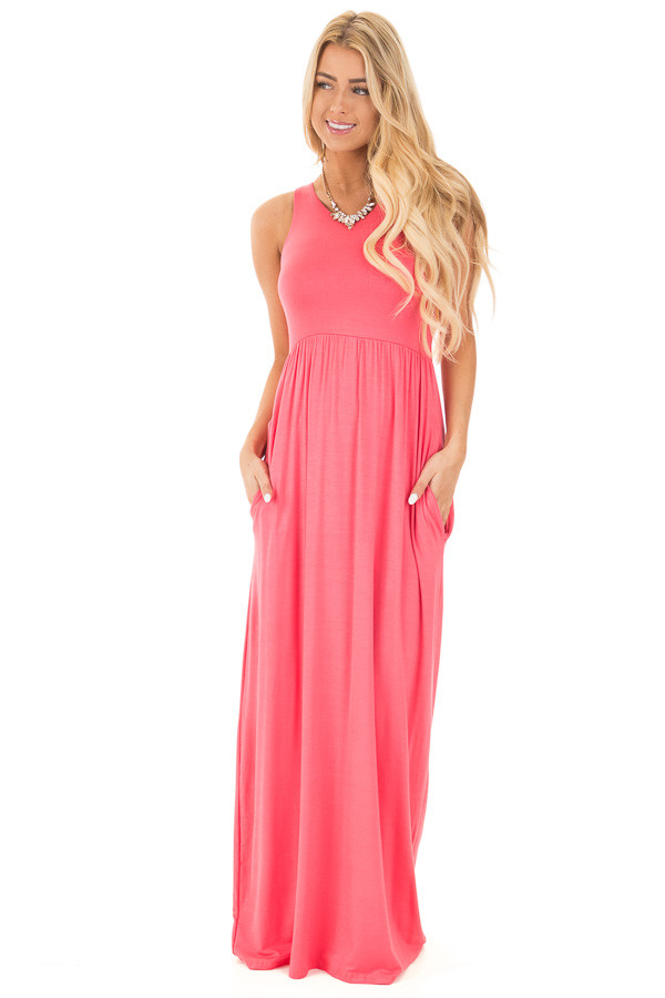 Coral Jersey Racerback Tank Maxi Dress front full body