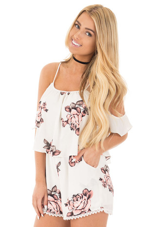 Ivory Floral Print Cold Shoulder Romper with Crochet Trim front close up