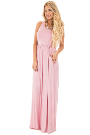 Blush Jersey Racerback Tank Maxi Dress front full body