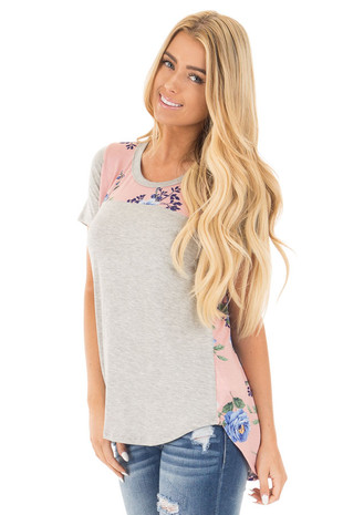 Heather Grey Tee with Blush Floral Contrast front close up