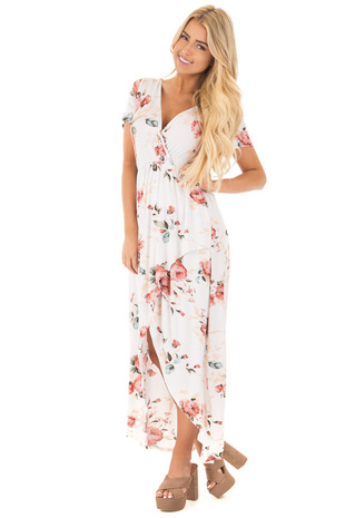 Ivory Short Sleeve Surplice Maxi Dress with Blush Floral Print front full body
