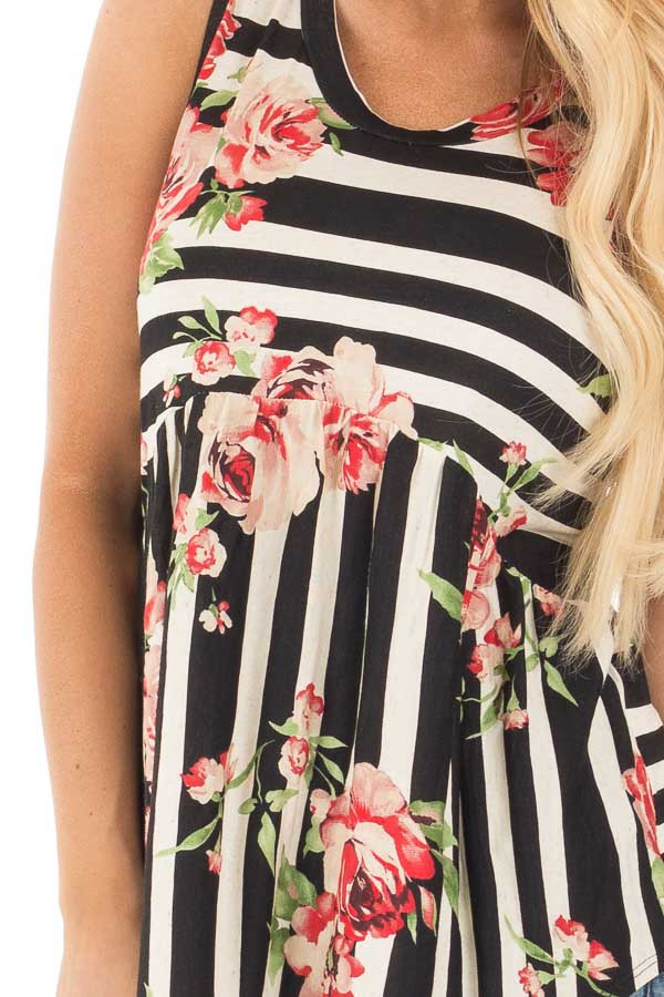 Black and Oatmeal Striped Baby Tunic with Floral Print detail