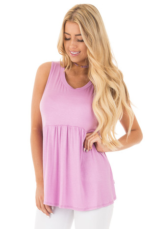 Lavender Sleeveless Babydoll Tunic Top front close up