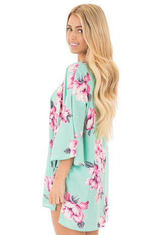 Mint with Fuchsia Floral Bell Sleeve Kimono Cardigan side close up