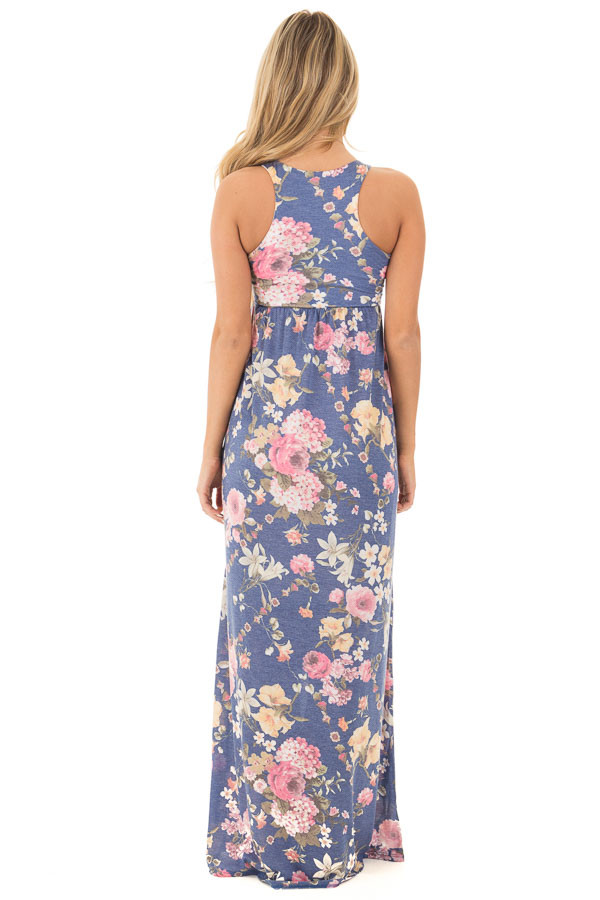 Denim Blue Floral Print Racerback Maxi with Hidden Pockets back full body
