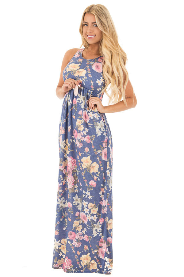 Denim Blue Floral Print Racerback Maxi with Hidden Pockets front full body