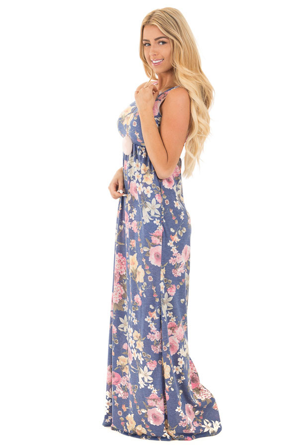 Denim Blue Floral Print Racerback Maxi with Hidden Pockets side full body