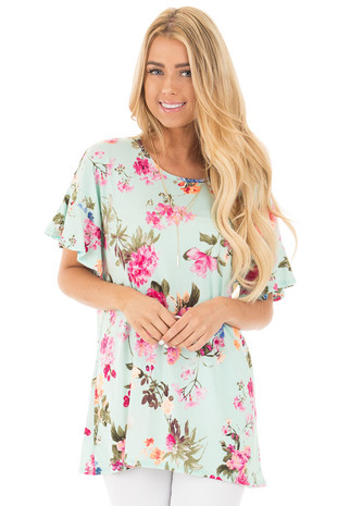 Mint Ruffle Sleeve Loose Fit Top with Fuchsia Floral Print front close up